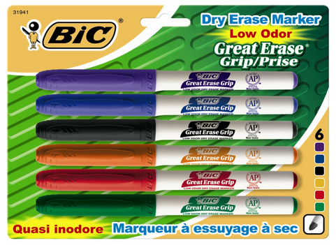 "BIC Great Erase Grip ""Pocket"" Dry Erase Markers, Fine Point"