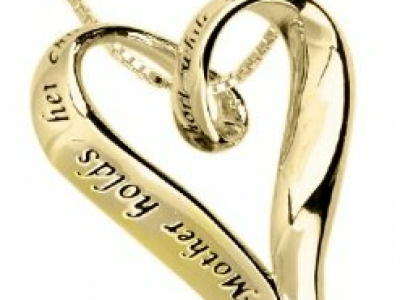 14k Yellow Gold Plated Sterling Silver 'A Mother Holds Her Child's Hand For A Short While And Their Hearts Forever' Heart Pendant