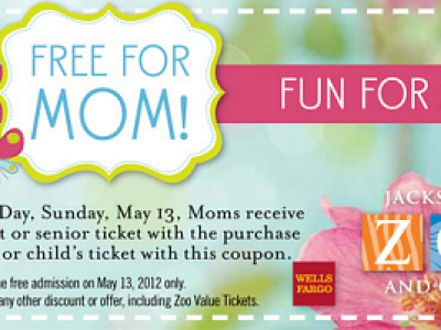 Free Admission for Moms to Jacksonville Zoo on Mother's Day.