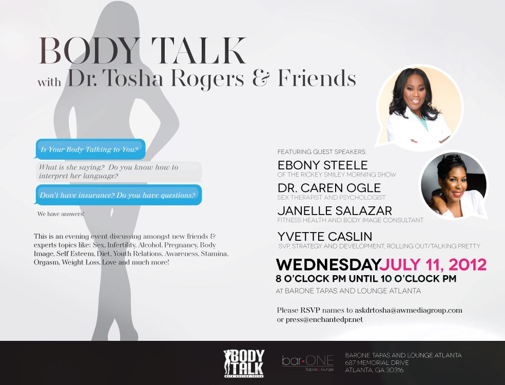 flyer1 Ladies Of #Atlanta Join Us For BODY TALK WITH DR. TOSHA AND FRIENDS AT @barOneAtl!