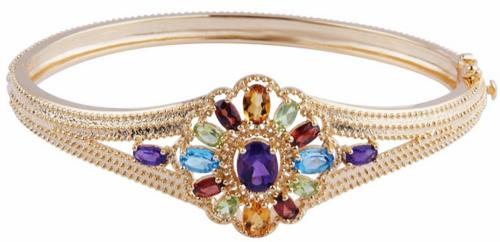 18k Gold Plated Sterling Silver Multi-Gemstone Flower Bangle Bracelet