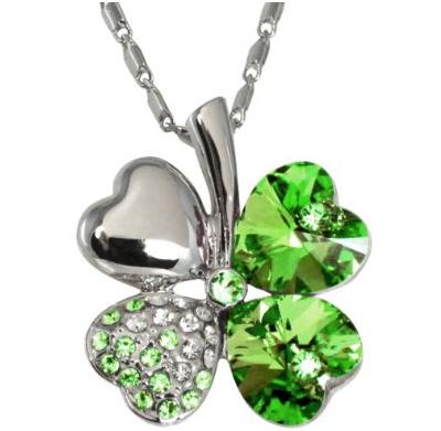 18k Gold Plated Swarovski Crystal Heart Shaped Four Leaf Clover Pendant Necklace
