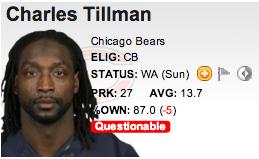 NFL football Charles Tillman of the Chicago Bears