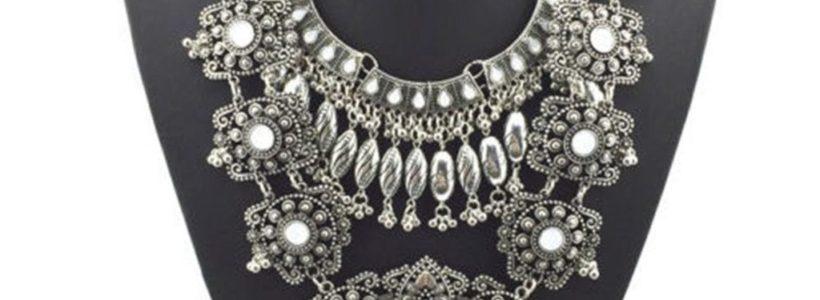 Pinbo Women Vintage Design Silver Long Boho Statement Necklace